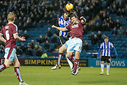 Joey Barton (Burnley) heads the ball during the Sky Bet Championship match between Sheffield Wednesday and Burnley at Hillsborough, Sheffield, England on 2 February 2016. Photo by Mark Doherty.