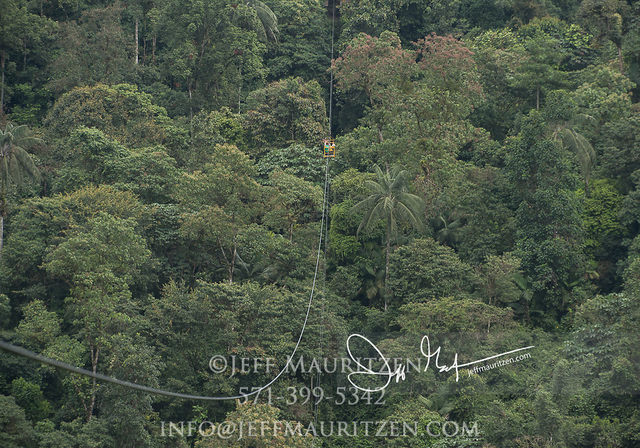 The Tarabita cable car takes tourists over the canopy of the Mindo Nambillo cloud forest reserve.