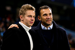 Oleksandr Zinchenko of Manchester City with Ukraine Manager Andriy Shevchenko - Mandatory by-line: Robbie Stephenson/JMP - 26/11/2019 - FOOTBALL - Etihad Stadium - Manchester, England - Manchester City v Shakhtar Donetsk - UEFA Champions League Group Stage