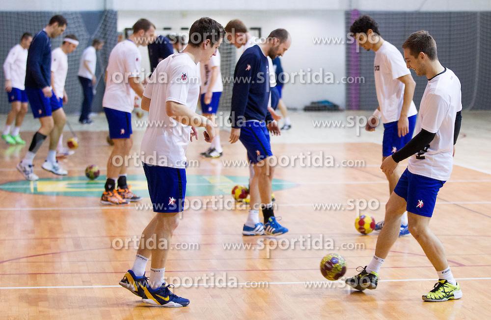 Simon Razgor and Gasper Marguc exercise during the Training Camp before IHF Men's Handball World Championship Spain 2013 on January 9, 2013 in Zrece, Slovenia. (Photo By Vid Ponikvar / Sportida.com)