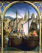 Shrine (Reliquary) of St Ursula, 1489. Gilded, painted wood. Hans Memling (1430/1440-1494) South Netherlandish painter. St Ursula (4th century) at Basle leading 10,000 virgins.  Pilgrimage Christian  Boat Ship Sail