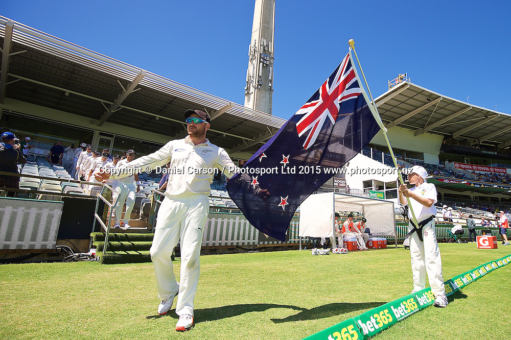 Brendon McCullum (*c) of the New Zealand Black Caps leads the team onto the field to start play during Day 5 on the 17th of November 2015. The New Zealand Black Caps tour of Australia, 2nd test at the WACA ground in Perth, 13 - 17th of November 2015.   Photo: Daniel Carson / www.photosport.nz