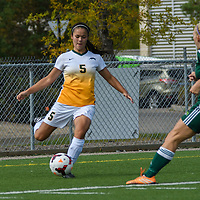 3rd year defender Angela Lalonde (5) of the Regina Cougars makes a pass to centre field during the Women's Soccer Homeopener on September 10 at U of R Field. Credit: Arthur Ward/Arthur Images