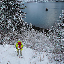 Alex Pedneault returning to the Alaska Quest after attempting an ice climbing first ascent in Tracy Arm Fjord near Juneau Alaska
