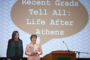 Professor Tammy Reynolds, and president and co-founder Liz Doyle, left, welcome everyone to the keynote for Ohio Women in Business event in the Baker Ballroom. The event organized a discussion with Alumni women about their experience in the business world and how your time at Ohio University can benefit you. Photo by Ohio University / Jonathan Adams