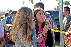 Students are released from a lockdown outside of Stoneman Douglas High School in Parkland, FL, USA, after a shooting on Wednesday, February 14, 2018. Photo by John McCall/Sun Sentinel/TNS/ABACAPRESS.COM