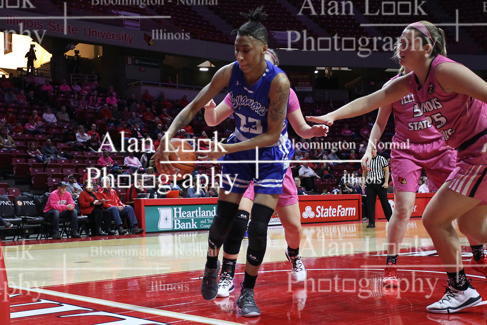 NORMAL, IL - February 10: Daijah Smith tries to save a ball from the out of bounds during a college women's basketball Play4Kay game between the ISU Redbirds and the Indiana State Sycamores on February 10 2019 at Redbird Arena in Normal, IL. (Photo by Alan Look)