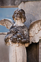 Graveyard angel statue in Loco in the Valle Onsernone  Ticino, Southern Switzerland.