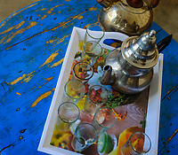 AIT BEN HADDOU, MOROCCO - CIRCA APRIL 2017: Detail of Moroccan  tea pot and glasses in Ait Ben Haddou.
