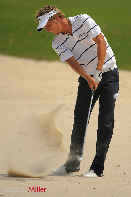 Fredrik Jacobson hits from a fairway bunker on the 15th hole during the third round of the Players Championship at TPC Sawgrass on May 10, 2008 in Ponte Vedra Beach, Florida.     © 2008 Scott A. Miller