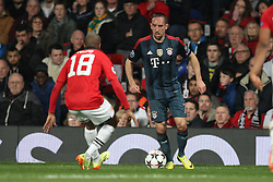 01.04.2014, Old Trafford, Manchester, ENG, UEFA CL, Manchester United vs FC Bayern Muenchen, Viertelfinale, Hinspiel, im Bild l-r: im Zweikampf, Aktion, mit Ashley Young #18 (Manchester United) und Franck Ribery #7 (FC Bayern Muenchen) // during the UEFA Champions League Round of 8, 1nd Leg match between Manchester United and FC Bayern Muenchen at the Old Trafford in Manchester, Great Britain on 2014/04/02. EXPA Pictures &copy; 2014, PhotoCredit: EXPA/ Eibner-Pressefoto/ Kolbert<br /> <br /> *****ATTENTION - OUT of GER*****