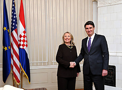 31.10.2012, Regierungssitz, Zagreb, CRO, Staatsbesuch, US Außenministerin Hillary Clinton in Croatien, im Bild US Außenministerin Hillary Clinton und Croatiens Premierminister Zoran Milanovic // US Secretary of State Hillary Clinton and Croatias prime minister Zoran Milanovic, According to the protocol she will meet with President Ivo Josipovic, Prime Minister Zoran Milanovic and Foreign and European Affairs minister Vesna Pusic, and they will talk about the role of Croatia as an ally in NATO, and its entry to the EU next year, and economic relations between the two countries, seat of government, Zagreb, Croatia on 2012/10/31. EXPA Pictures © 2012, PhotoCredit: EXPA/ Pixsell/ Marko Lukunic..***** ATTENTION - OUT OF CRO, SRB, MAZ, BIH and POL *****