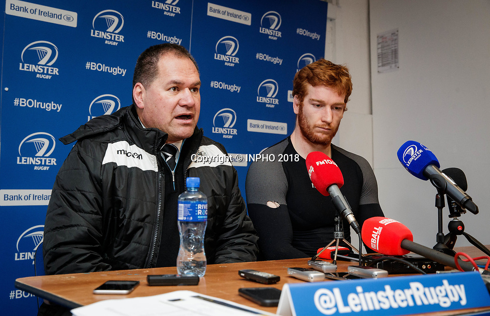 European Rugby Champions Cup Round 5, RDS, Dublin 14/1/2018<br /> Leinster vs Glasgow Warriors<br /> Glasgow Warriors' head coach Dave Rennie and Robert Harley<br /> Mandatory Credit &copy;INPHO/Ryan Byrne