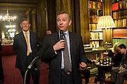 BILL CASH; MICHAEL GOVE, Celebration of the  200TH Anniversary of the  Birth of Rt.Hon. John Bright MP  and the publication of <br /> &Ocirc;John Bright: Statesman, Orator, Agitator&Otilde; by Bill Cash MP. Reform Club. London. 14 November 2011. <br /> <br />  , -DO NOT ARCHIVE-&copy; Copyright Photograph by Dafydd Jones. 248 Clapham Rd. London SW9 0PZ. Tel 0207 820 0771. www.dafjones.com.<br /> BILL CASH; MICHAEL GOVE, Celebration of the  200TH Anniversary of the  Birth of Rt.Hon. John Bright MP  and the publication of <br /> &lsquo;John Bright: Statesman, Orator, Agitator&rsquo; by Bill Cash MP. Reform Club. London. 14 November 2011. <br /> <br />  , -DO NOT ARCHIVE-&copy; Copyright Photograph by Dafydd Jones. 248 Clapham Rd. London SW9 0PZ. Tel 0207 820 0771. www.dafjones.com.