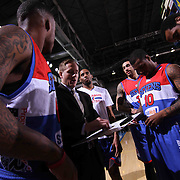 Delaware 87ers Head Coach Kevin Young draw up a play  prior to a NBA D-league regular season basketball game between the Delaware 87ers and the Grand Rapids Drive (Detroit Pistons) Saturday, Apr. 04, 2015 at The Bob Carpenter Sports Convocation Center in Newark, DEL.