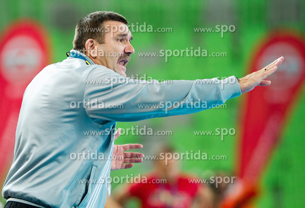 Gheorghe Covaciu, head coach of Jolidon Cluj during handball match between RK Krim Mercator and U Jolidon Cluj in 1st Round of Group B of EHF Women's Champions League 2012/13 on October 14, 2012 in Arena Stozice, Ljubljana, Slovenia. (Photo By Vid Ponikvar / Sportida)