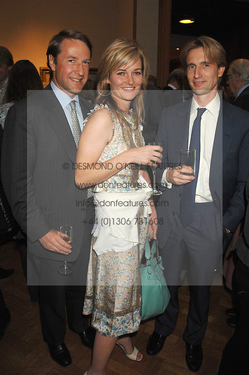 Left to right, SIMON WILLES, MIRANDA BRANKIN-FRISBY and NICHOLAS WHITE at a reception to launch the Knight of Glin's book 'Irish Furniture' and Harry Erne's book 'Freddy Lond Ears' held at Christie's, 8 King Street, London SW1 on 3rd May 2007.<br />