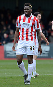 Mathieu Manset during the Sky Bet League 2 match between Cheltenham Town and Plymouth Argyle at Whaddon Road, Cheltenham, England on 28 March 2015. Photo by Alan Franklin.