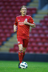 LIVERPOOL, ENGLAND - Thursday, May 5, 2011: Liverpool's Christian Poulsen in action against Manchester United during the FA Premiership Reserves League (Northern Division) match at Anfield. (Photo by David Rawcliffe/Propaganda)