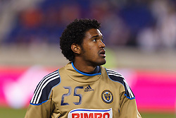 Oct 20, 2011; Harrison, NJ, USA;  Philadelphia Union defender Sheanon Williams (25) warms up before the game against the New York Red Bulls at Red Bull Arena. New York defeated Philadelphia 1-0. Mandatory Credit: Jason O. Watson-US PRESSWIRE