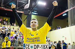 Urban Lesjak of Celje PL celebrates after winning during handball match between RK Gorenje Velenje and RK Celje Pivovarna Lasko in Final match of 1st NLB League - Slovenian Championship 2013/14 on May 23, 2014 in Rdeca dvorana, Velenje, Slovenia. RK Celje Pivovarna Lasko became 18-times Slovenian National Champion. Photo by Vid Ponikvar / Sportida