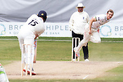 Tom Taylor bowling to Steven Croft during the Bob Willis Trophy match between Lancashire County Cricket Club and Leicestershire County Cricket Club at Blackfinch New Road, Worcester, United Kingdom on 4 August 2020.