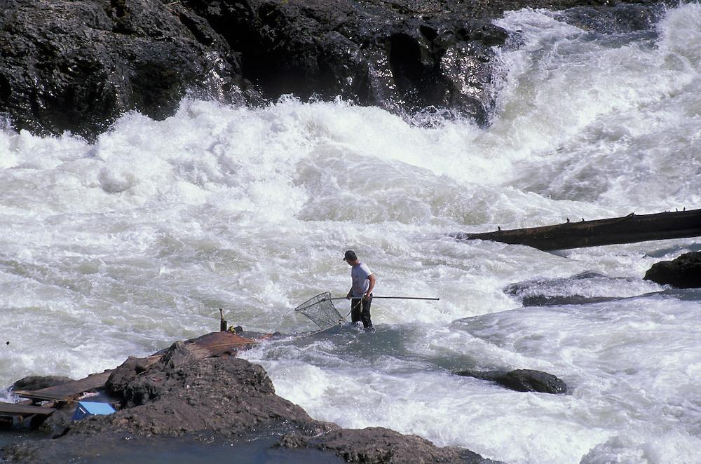 Salmon Fisherman at Bulkley River, Moricetown, British Columbia, Canada
