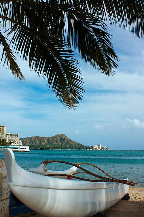 Outrigger canoe on the beach near Diamond Head, Waikiki, Honolulu, HI