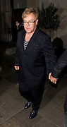 12.OCTOBER.2009 - LONDON<br /> <br /> ELTON JOHN LEAVING SCOTT'S RESTAURANT, MAYFAIR AFTER HAVING DINNER WITH PARTNER DAVID FURNISH.<br /> <br /> BYLINE: EDBIMAGEARCHIVE.COM<br /> <br /> *THIS IMAGE IS STRICTLY FOR UK NEWSPAPERS &amp; MAGAZINES ONLY*<br /> *FOR WORLDWIDE SALES &amp; WEB USE PLEASE CONTACT EDBIMAGEARCHIVE-0208 954 5968*
