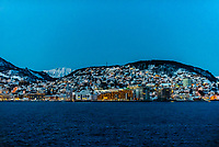 Harstad, Arctic, Northern Norway in predawn light in winter.