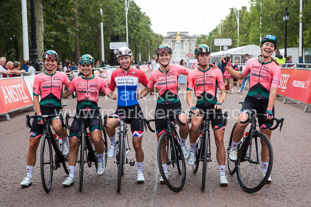 London, UK. 3 August, 2019. Parkhotel Valkenburg (Netherlands) pose for a team photograph before the Prudential RideLondon Classique. The Classique, which is the richest one-day women's race in the world, covers 20 laps of a tight circuit of 3.4 kilometres around St James's Park and Constitution Hill.