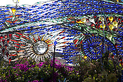 Echo Park, Los Angeles, California: A glass bottle sculpture created by Randlett Lawrence in front of his home in Echo Park. 5/9/09. (Photo: Ann Summa).