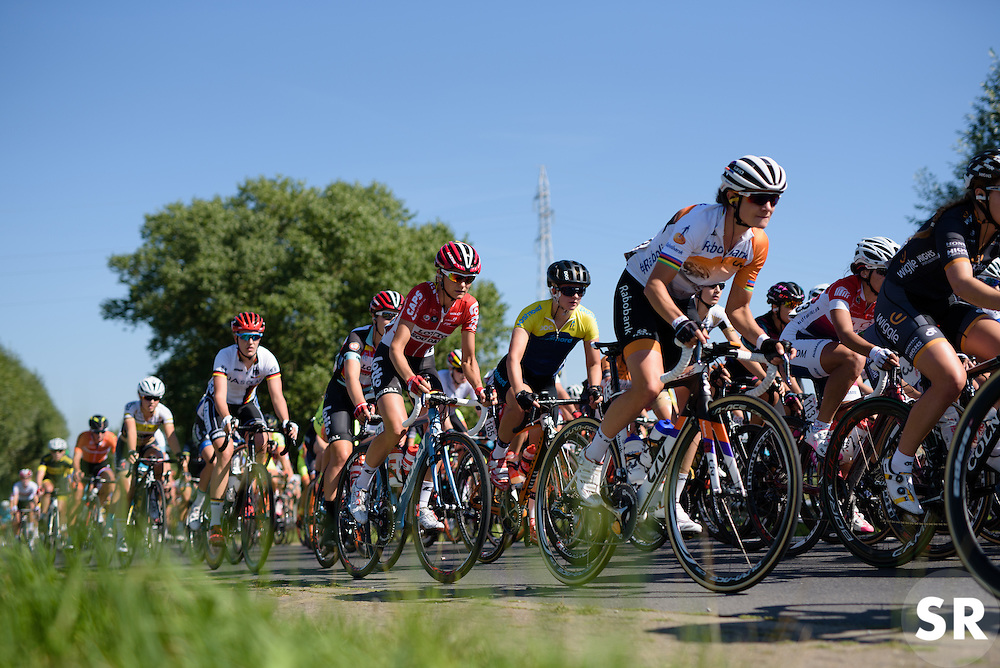 Marianne Vos and Claudia Lichtenberg in the bunch at the 121 km Stage 1 of the Lotto Belgium Tour 2016 on 7th September 2016 in Moorslede, Belgium. (Photo by Sean Robinson/Velofocus).