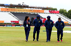South Africa Women officials inspect the outfield as they wait for the rain to stop ahead of their Women's World Cup Match against New Zealand Women at Derby - Mandatory by-line: Robbie Stephenson/JMP - 28/06/2017 - CRICKET - County Ground - Derby, United Kingdom - South Africa Women v New Zealand Women - ICC Women's World Cup Match 6
