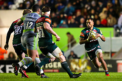Telusa Veainu of Leicester Tigers runs with the ball - Mandatory by-line: Robbie Stephenson/JMP - 27/04/2018 - RUGBY - Welford Road Stadium - Leicester, England - Leicester Tigers v Newcastle Falcons - Aviva Premiership