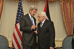 September 19, 2016 - New York, NY, United States of America - U.S Secretary of State John Kerry chats with Palestinian Authority President Mahmoud Abbas, before their bilateral meeting September 19, 2016 in New York City. Both men are in New York for the United Nations General Assembly meeting. (Credit Image: © State Department/Planet Pix via ZUMA Wire)