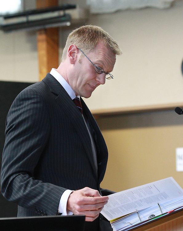 Marcus Elliott, Barrister, appointed counsel to assist the Canterbury Earthquakes Royal Commission at the Canterbury Earthquakes Royal Commission public hearing at St Teresa's Church Hall, Christchurch, New Zealand, Wednesday, November 09, 2011. Credit:SNPA / The Press, Stacy Squires   *POOL**