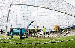 Raith Rovers keeper Conor Brenan can't stop Hibernian's Jason Cummings goal. Raith Rovers 1 v 1 Hibernian, Scottish Championship game played 18/2/2017 at Starks Park.