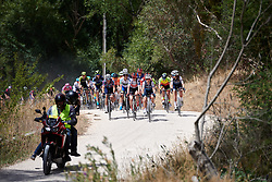 Trixi Worrack (GER) leads a group across the gravel on Stage 3 of 2020 Santos Women's Tour Down Under, a 109.1 km road race from Nairne to Stirling, Australia on January 18, 2020. Photo by Sean Robinson/velofocus.com