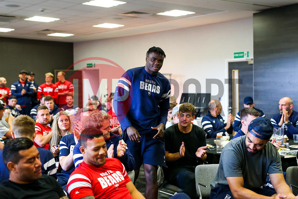 Ehize Ehizode looks on as the Bristol Bears squad gather to make presentations to departing players after the Bristol Bears Team Run ahead of the Sale Sharks Game - Rogan/JMP - 02/05/2019 - RUGBY UNION - Ashton Gate Stadium - Bristol, England - Bristol Bears v Sale Sharks - Gallagher Premiership Rugby.