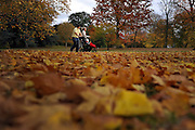 © Licensed to London News Pictures. 01/11/2011. Kew, UK. A couple push a baby's buggy through the leaves. People enjoy the Autumn sunshine in Kew Gardens today, 1st November 2011. Parts of the UK are experiencing higher than average temperature for the time of year.  Photo credit : Stephen Simpson/LNP