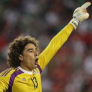 Goalkeeper Guillermo Ochoa, Mexico, in action during the Portugal V Mexico International Friendly match in preparation for the 2014 FIFA World Cup in Brazil. Gillette Stadium, Boston (Foxborough), Massachusetts, USA. 6th June 2014. Photo Tim Clayton