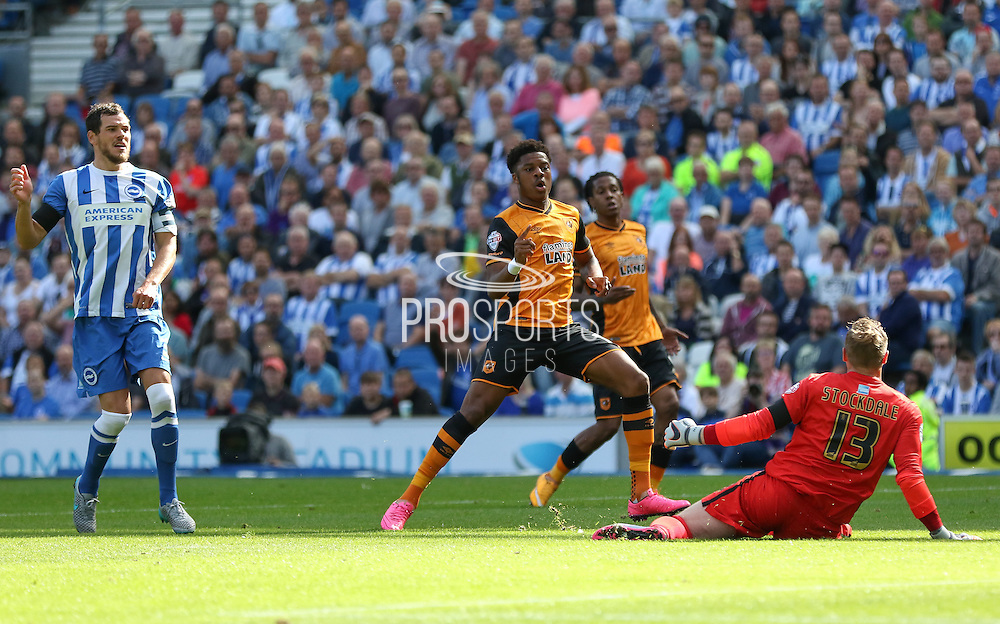 Hull City striker Chuba Akpom goes close but is offside during the Sky Bet Championship match between Brighton and Hove Albion and Hull City at the American Express Community Stadium, Brighton and Hove, England on 12 September 2015. Photo by Phil Duncan.
