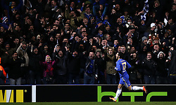 21.02.2013, Stamford Bridge, London, ENG, UEFA Europa League, FC Chelsea vs Sparta Prag, 1. Runde, im Bild Eden Hazard of Chelsea celebrates his goal during UEFA Europa League knockout round 1st leg match between Chelsea FC and Sparta Prag at the Stamford Bridge, London, Great Britain on 2013/02/21. EXPA Pictures © 2013, PhotoCredit: EXPA/ Propagandaphoto/ Wang Lili..***** ATTENTION - OUT OF ENG, GBR, UK *****
