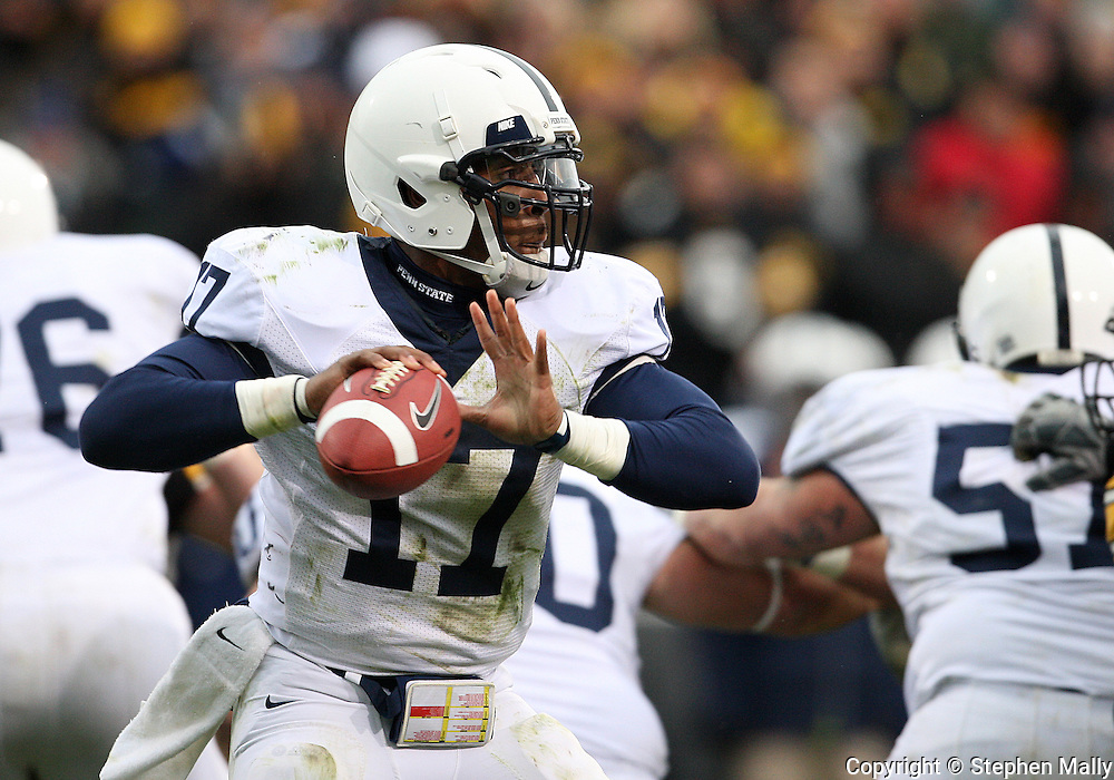 08 NOVEMBER 2008: Penn State quarterback Daryll Clark (17) drops back to pass in the first half of an NCAA college football game against Penn State, at Kinnick Stadium in Iowa City, Iowa on Saturday Nov. 8, 2008. Iowa beat Penn State 24-23.