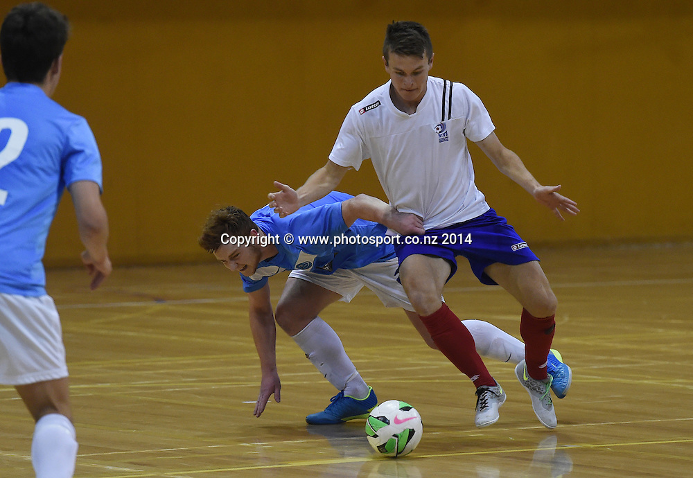 Stephen Ashby-Peckham shoots and scores a goal for AFF Futsal. Central Futsal Hawkes Bay v AFF Futsal. National Futsal League, Series 3. ASB Stadium, Auckland, New Zealand. Friday 5 December 2014. Photo: Andrew Cornaga/photosport.co.nz