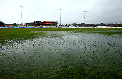 Puddles on the outfield at Derby's County Ground as rain delays the start of the Women's World Cup match between South Africa Women and New Zealand Women - Mandatory by-line: Robbie Stephenson/JMP - 28/06/2017 - CRICKET - County Ground - Derby, United Kingdom - South Africa Women v New Zealand Women - ICC Women's World Cup Match 6