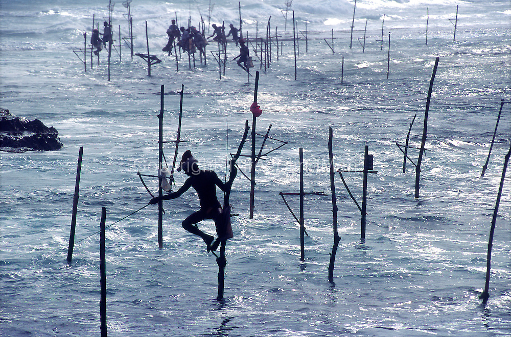 On the south coast of the island, for a few miles along the coast between Koggala and Ahangama, fishermen will sit on a wooden stilt to fish for small fish on the reef.