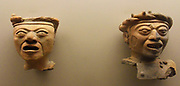 Huaxtec small sculptures from the Gulf of Mexico circa 900-1450 Ad. The Huaxtec culture was conquered and absorbed by the Aztecs. Pre-Columbian Mesoamerican Mythology