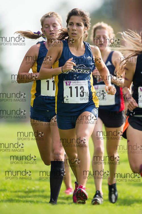 Lauren Fisico of the Windsor Lancers runs at the 2014 Western International Cross country meet in London Ontario, Saturday,  September 20, 2014.<br /> Mundo Sport Images/ Geoff Robins